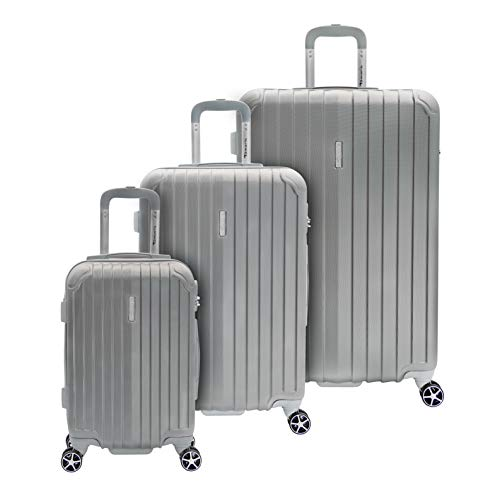 Tamaris Style Hartschalen Kofferset, 4 Rollen 3er Reisekoffer Set für Damen/Herren mit TSA-Zahlenschloss - (S, M & L), Silber