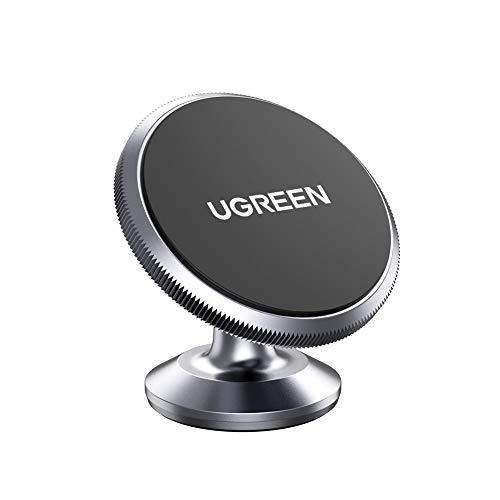 UGREEN Support Téléphone Voiture Magnétique Tableau de Bord 360 Degrés Rotation en Aluminium Compatible avec iPhone 12 11 Pro Max X Se 2020 8 Galaxy S20 S8 Note 20 Note 10 M51 A21 Xiaomi Redmi