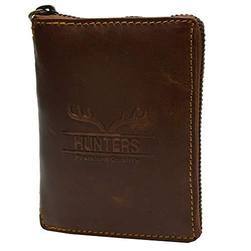 flevado Hunter Portemonnaie Geldbörse Herren Geldbeutel Büffel Rindleder Hochformat mit Rundum Reißverschluss und RFID