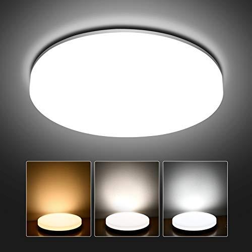 Hidixon 24W LED Deckenleuchte, 2400lm Ø28cm LED Deckenlampe Einstellbar 3000K/4000K/6000K, Badezimmer LED Lampen Deckenlampen Rund (ersetzt 200W Glühbirne) für Flur Küche Wohnzimmer Schlafzimmer
