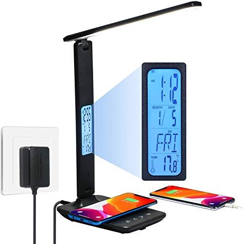 10W Lámpara de Escritorio, Lámpara de Mesa LED con Carga Inalámbrica Wireless y Puerto USB, Control Táctil 5 Niveles de Brillo Regulable Lámpara de Oficina Flexible para Trabajo, Estudio y Lectura