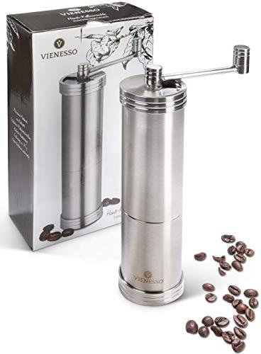 VIENESSO Handkaffeemühle mit Edelstahl-Mahlwerk - Kaffee Mahlen - manuelle Espresso-Mühle mit stufenloser Mahlgradeinstellung, 35g Füllmenge, Coffee Grinder + gratis E-Book! (Silber)