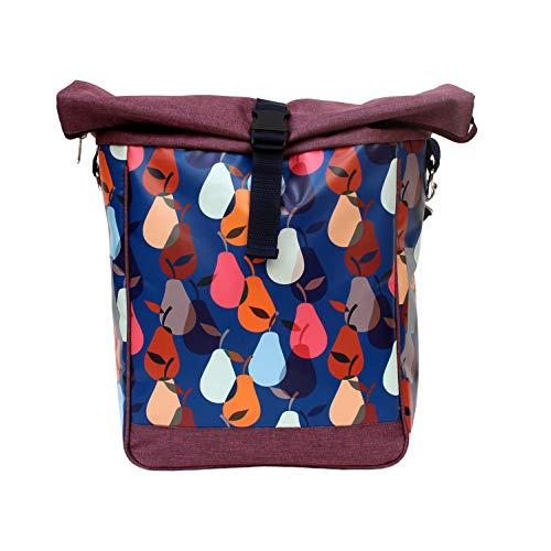 IKURI Fahrradtasche für Gepäckträger Satteltasche Einzeltasche Packtasche, abnehmbar, mit Tragegurt zum Umhängen, aus Plane, für Damen, Wasserdicht, Modell Peras blau