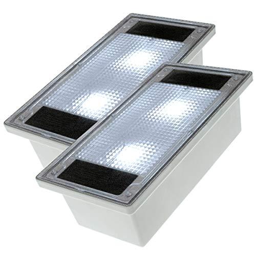 Solar Pflasterstein Solarstein 10x20cm trittfest weiße LED im 2er Set