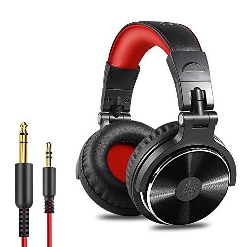 OneOdio Over Ear Kopfhörer mit Kabel, 50mm Treiber, Bassklang, 6.35 & 3.5mm Klinke, Share-Port, Geschlossene DJ Headphones für Studio, Podcast, Monitor, Handy, PC, MP3/4 (Pro-10 Rot)