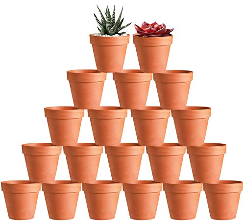 20 Pcs 3' Terracotta Clay Pots Pack of Small Craft Nursery Cactus Pot Water...