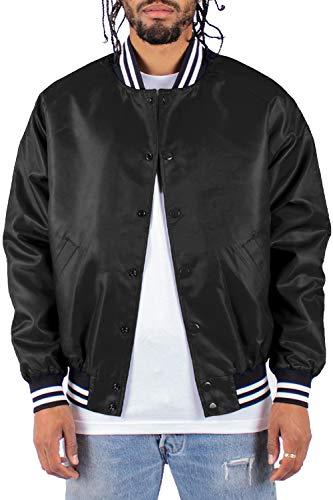 Shaka Wear Men's Bomber Jacket – Classic Padded Relaxed Fit Water Resistant College Baseball Varsity Coat VBJ02 Black L