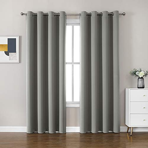 CUCRAF Grommets Drapes Window Treatment Blackout Curtains for Bedroom/Living Room/Nursery - W46 x L72 inch Light Grey Eyelet Curtains