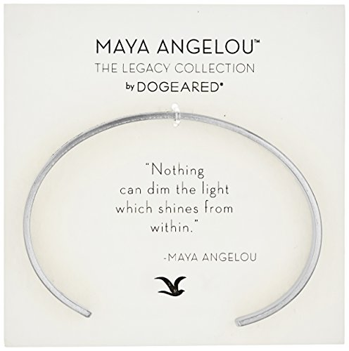 Dogeared Maya Angelou Nothing Can Dim The Light Thin Engraved Silver Cuff Bracelet
