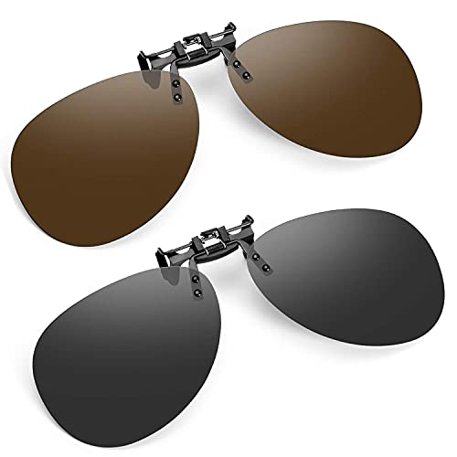 Mantimes Gafas de sol polarizadas con clip para conducir, gafas de sol sin montura (talla única, gris+marrón)