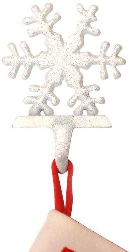 Insideretail - Coppia di appendicalze a Forma di Fiocco di Neve, in ghisa con Strass, per Calze della Befana, Colore: Bianco/Argento