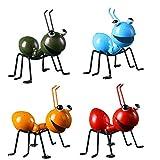 YepYes Jardín de la Escultura del Metal del Arte Ant Ornamento Colorido del Insecto Lindo para Colgar Arte de la Pared del jardín del césped de la decoración de Interior al Aire Libre 4PCS