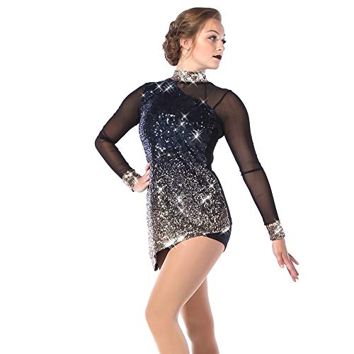 Alexandra Collection Womens Unstoppable Ombre Sequin Mesh Dance Costume Dress Navy