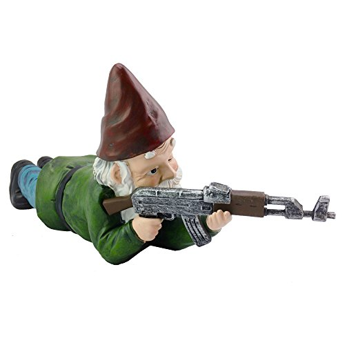 Military Garden Gnome with an AK47 | Funny Army Statue, Perfect for...