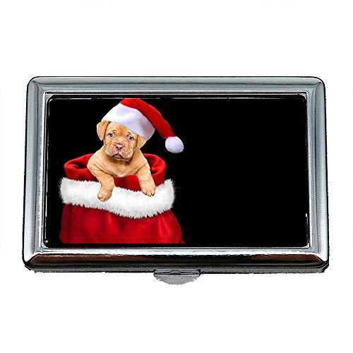 Zigaretten-Aufbewahrungsbehälter / -kasten, Weihnachtsgeschenke Hund Weihnachtshundekappe Weihnachtsmütze, Visitenkartenetui Visitenkartenetui Edelstahl
