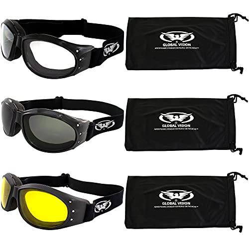 G V 3 Burning Man Padded Motorcycle Goggles Clear Smoke Yellow