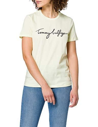 Tommy Hilfiger Crew Neck Graphic tee Camiseta sin Mangas para bebs y Nios pequeos, Cristal Esmerilado, M para Mujer