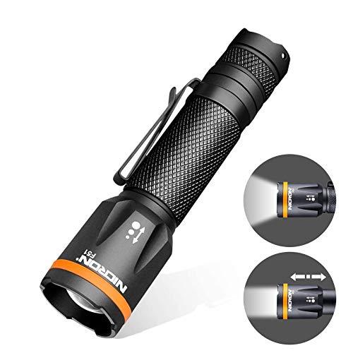 NICRON F51 LED Mini Taschenlampe Fokussierbar Handlampe 600 Lumen IPX4 Wasserdicht, Strahlabstand 123m, 3 Modi für Outdoor Camping Notfälle Batterie Nicht Enthalten