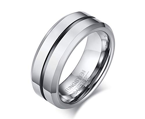 VNOX Men's Tungsten Rings Black Grooves Inlay High Polish Comfort Fit Wedding Band 8mm Width,Size P 1/2