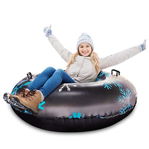 Qdreclod 47'' Aufblasbare Schlitten für Erwachsene, Schwerlast Aufblasbare Snow Tube mit Griffen, Kratzfest, Frostbeständig, Ideal für den Winter Outdoor-Spaß