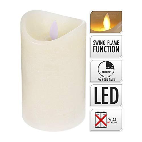 ToCi LED echte wax kaars met timer en vlamloos, beweegbare vlam, crème,