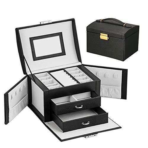 Aomier - Cajonera con 3 niveles con cierre de cajón, espejo, cerradura y llave para anillos, pulseras, pendientes
