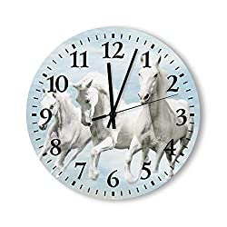Tamengi Retro Wooden Wall Clock,Horses Wood Clock Antique Quality Quartz Battery Operated, Decorative Round Wall Clock for The Kitchen, Living Room, Bedroom or Office 15x15inch Made in USA