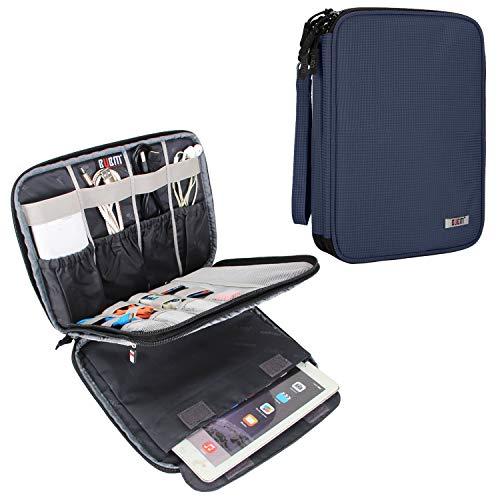 """BUBM Electronic Organizer, Travel Cable Organizer Cord Bag for Earphone, USB Flash Drive, Memory Card and More, Compatible with Up to 9.7"""" iPad or Tablet (X-Large, Dark Blue)"""