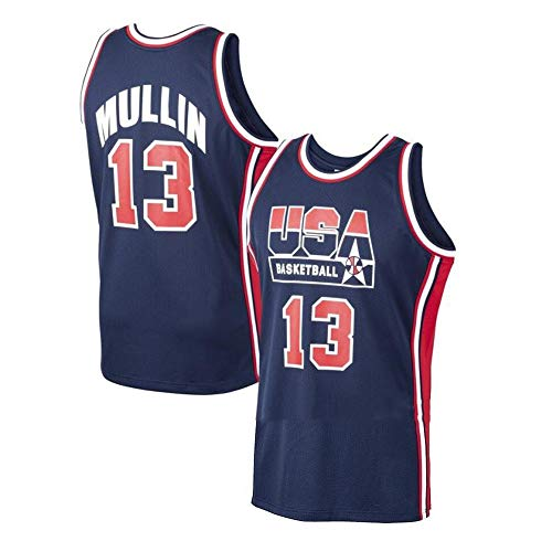JCSW Camiseta Baloncesto Camiseta De Baloncesto Masculino Chris Mullin # 13, Transpirable Resistente Al Desgaste Sudadera Bordada Camiseta + Pantalón Corto, XS-XXL, FHI319IHF (Size : XL)