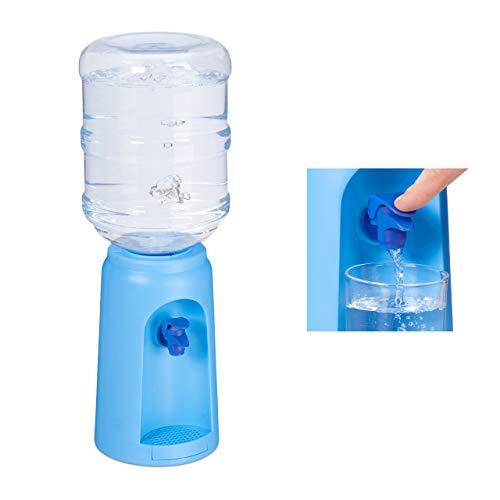 Relaxdays Wasserspender mit Tank & Zapfhahn, Tisch Trinkwasserspender Büro, 4,5 l, Kunststoff, H x D: 47,5 x 17 cm, blau, 1 Stück