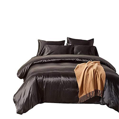 Dream Bedding Silk Sheet Set 4 Pcs, Silk Bed Sheets, Luxury Bedding Sets -Ultra Soft, Hypoallergenic, Durable-100% Top Grade Silk King, Black