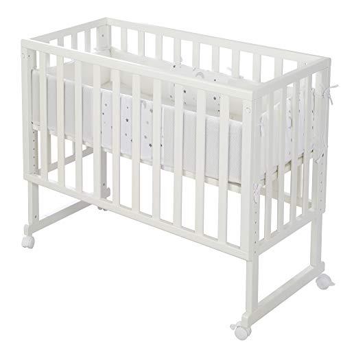 roba Cuna 3 en 1 Safe Asleep, color blanco, para todas las alturas de la cama de los padres, incluye colchón ventilado, nido ventilado y barrera