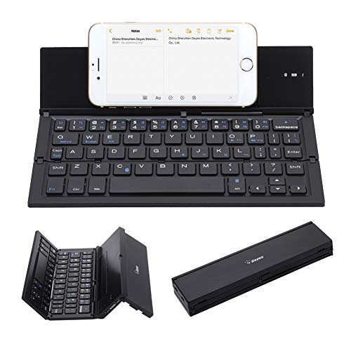Geyes Portable Folding Wireless Keyboard - BT Rechargeable Full Size Ultra Slim Foldable Keyboard with Kickstand, Aluminum Alloy, Compatible iOS Android Windows Smartphone Tablet and Laptop, Black