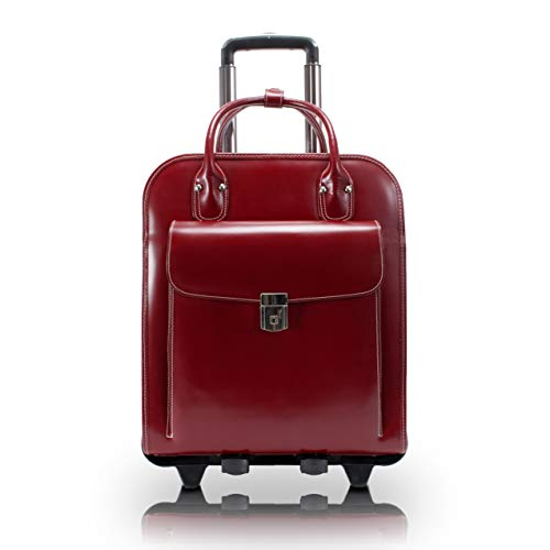 46 cm Red McKlein Roseville/15.6 Leather Fly-Through Detachable-Wheeled Ladies Briefcase