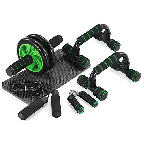 DXMGZ Equipo de Fitness 5 en 1, Rueda Abdominal/Mango de Bomba/Cuerda de Saltar/Pinza de Mano/Kit Completo de Rodillera para Ejercicios de Fitness Culturismo