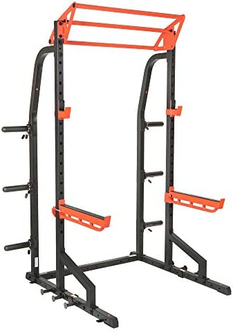 Sunny Health Fitness Power Zone Half Rack Heavy Duty Performance Power Cage with 1000 LB Weight product image