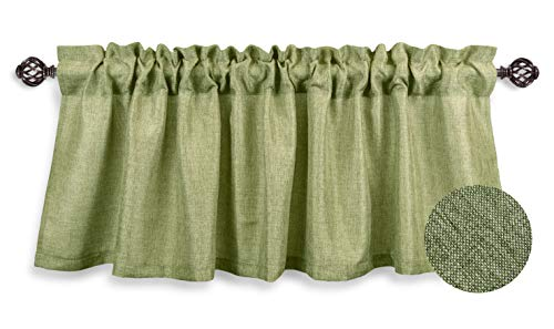 Aiking Home Pure 100% Faux Linen Window Valance - Size 56 inch x 16 inch, Moss