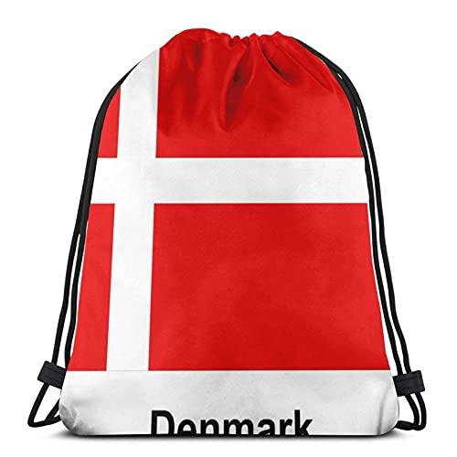 Bolsas con cordón de la bandera danesa unisex con cordón de la mochila de deporte bolsa de cuerda bolsa grande bolsa de asas con cordón bolsa de asas bolsa de gimnasio a granel