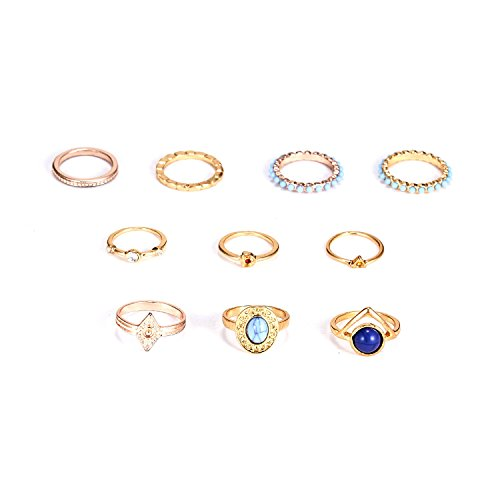 RINHOO FRIENDSHIP 10PCS Bohemian Retro Vintage Crystal Joint Knuckle Ring Sets Finger Rings (Turquoise)
