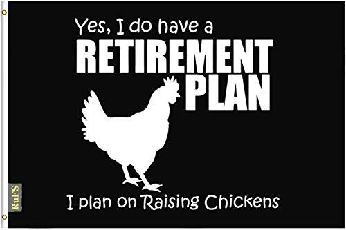 RuFS Yes I Do Have A Retirement Plan I Plan On Raising Chickens Gartenhaus einseitig Polyester Zeichen Outdoor Banner Außenwand Innenhof Banner Dekor