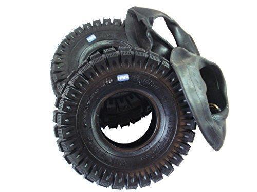 hmparts 2x Neumáticos 3.00-4 - TAMAÑO - Kit con manguera - MINIMOTO / Mini Quad / Mini triciclo