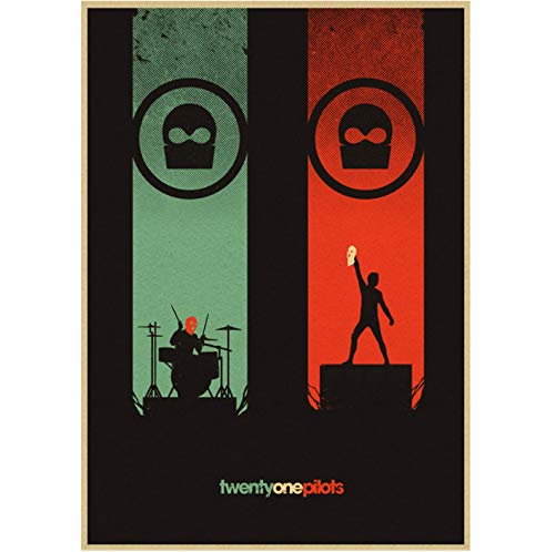 Twenty One Pilots Poster Vintage Retro Rock Band Música Guitarra Cartel Antiguo Etiqueta De La Pared Carteles 50 × 70Cm Sin Marco
