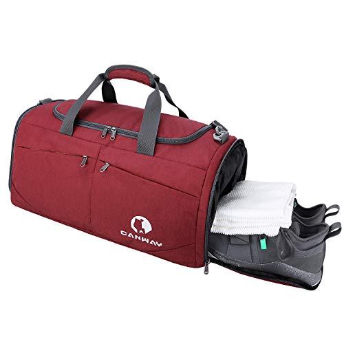 CANWAY Faltbare Sporttasche Faltbare Reisetasche mit dem schmutzigen Fach und Schuhfach Leichtgewicht für Männer und Frauen (Rot)