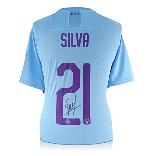 exclusivememorabilia.com Camiseta de fútbol Manchester City 2019-20 firmada por David Silva, con Estampado Europeo