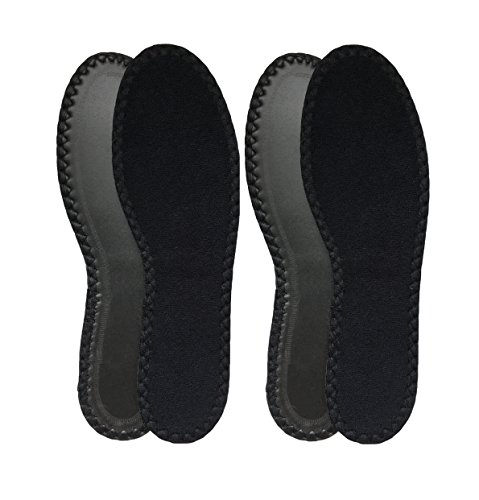 Happystep Cotton Terry Cloth Insoles, Barefoot Shoe Inserts, Washable and Reusable, 2 Pairs of Black (Women Size 8)