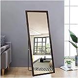AUFHELLEN Espejo de pie con marco marrón de madera, 140 x 50 cm, HD, grande, con ganchos, para salón o vestidor (marrón)
