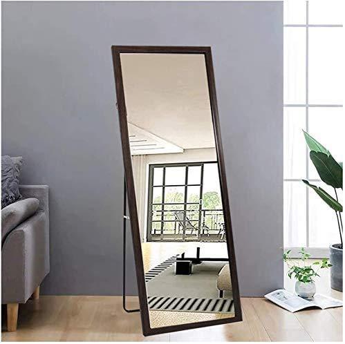Specchio da terra luminoso con cornice marrone in legno, 140 x 50 cm, HD, grande specchio con gancio per soggiorno o spogliatoio (marrone)