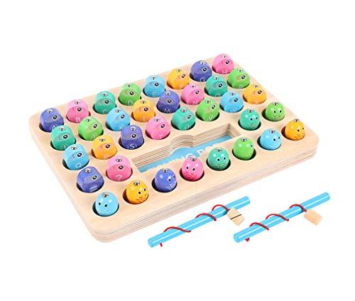 Yx-outdoor Montessori bandeja de pesca alfanumérica, entrena a tu bebé para reconocer letras y números aritméticos, juguetes de pesca de madera juego de equilibrio