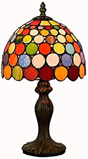 Tiffany Table Lamp European Creative Wave Point Glass Painting Living Room Red Dining Bedside Lamp