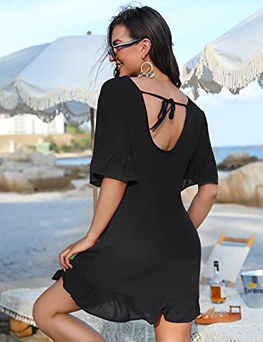 Irevial Vestido de Playa Verano Mujer Sexy Vestido Suelto Mujer Corto Elegante Manga Corta Traje de Baño Cover up Ropa de Baño Playa Camisolas y Pareos